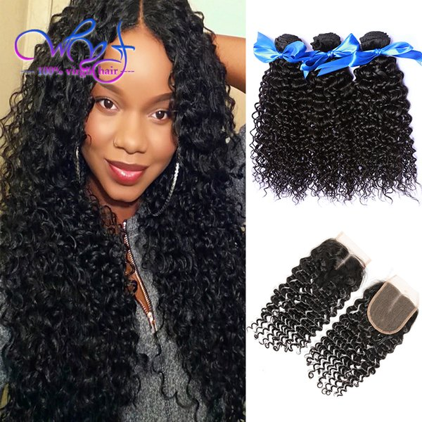 WYF Hair Closure With Bundles Curly Hair Weave Extensions 3 Bundles 100% 7A Malaysian Virgin Human Hair Weaves Bundles With 4x4 Lace Closure