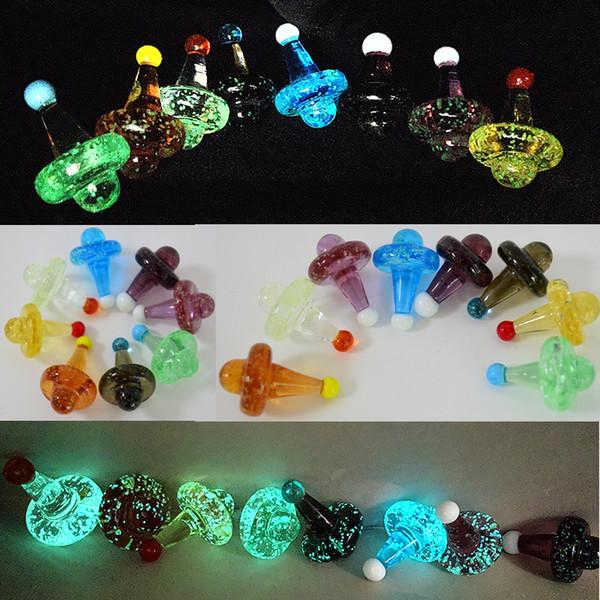 Resplandor en la oscuridad Carb Caps Glass Bubble Carbs Cap Luminous Carbs Caps 22 mm OD Navidad Sombrero de Navidad Magic Witch Hats Banger Smoking Accessoiies