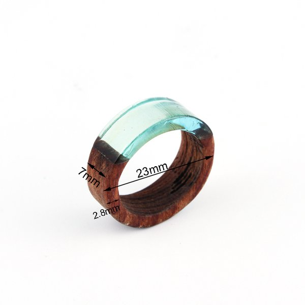 1pc Retro Punk Clear Resin Wood Rings For Women Men Jewelry Resin Round Circle Ring Carving Joint Simple Finger Ring Anel r94