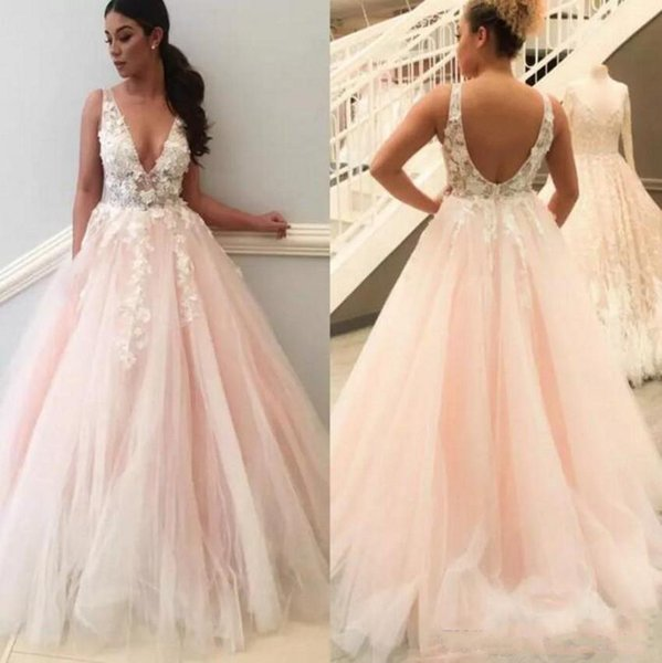 2019 Latest Pink V Neck Themed Wedding Dresses Bridal Gowns A Line Open Back Sheer Straps Appliques Petals Long Summer Beach Bridal Gowns