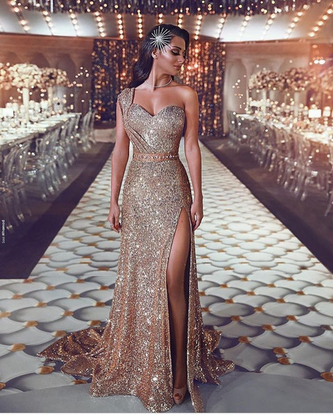 beautydesign / Luxurious 2019 Arabic Split Bling Bling Evening Dresses One Shoulder Beaded Crystals Sequins Prom Dresses Sparkly Sexy Formal Party Gowns
