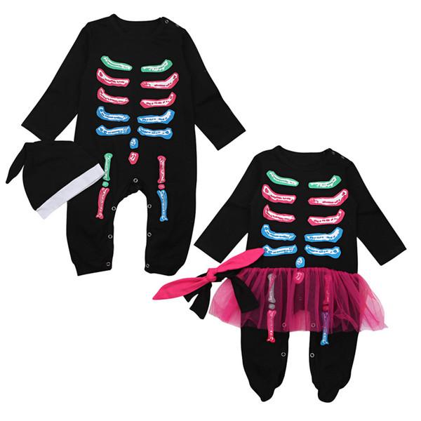Baby Boys Girls Holloween Rainbow Skeleton Onesie 2pc set hat hairband+romper 0-1T Newborns Toddlers cute skull long sleeve foot wrap romper