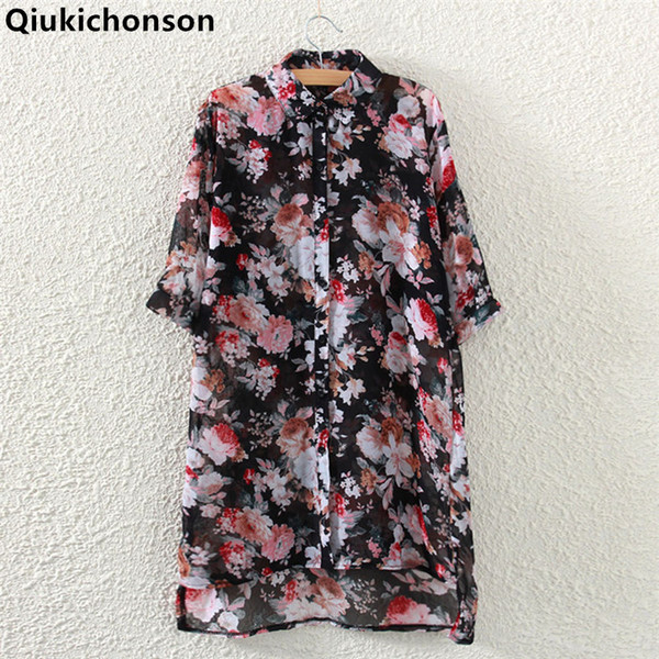 top popular Qiukichonson Floral Chiffon Blouse Woman 2018 Spring Summer Tops Ladies Casual Low-high Design chiffon Long Shirts for women 2021
