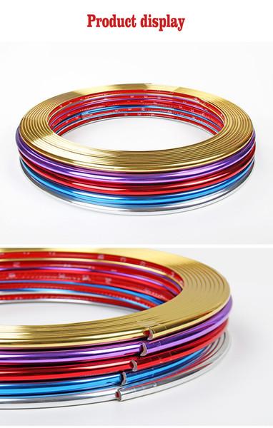 8M Adesivo strisce rifilate in PVC Griglia Lampade Cerchione Cerchi cromati Decorazione protettiva Car Styling auto cerchio mozzo di protezione