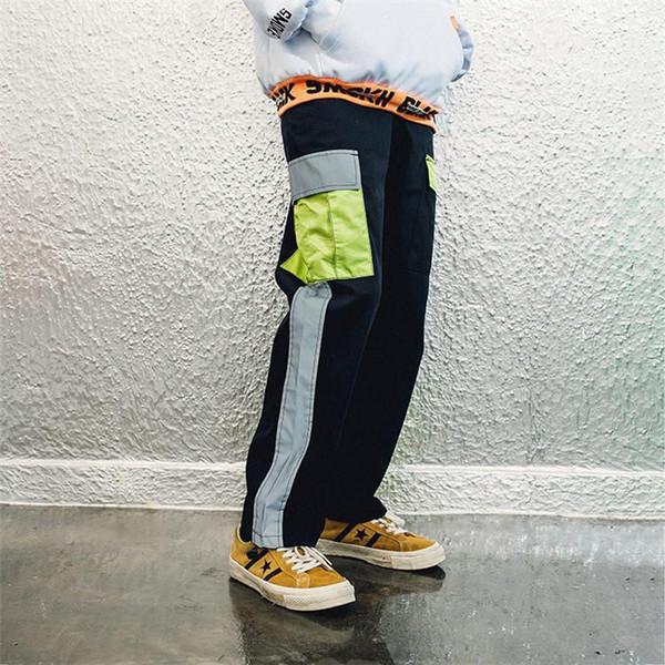 Fashion cargo pants men Latest design high quality color block patchwork pockets men straight hip hop streetwaer trousers