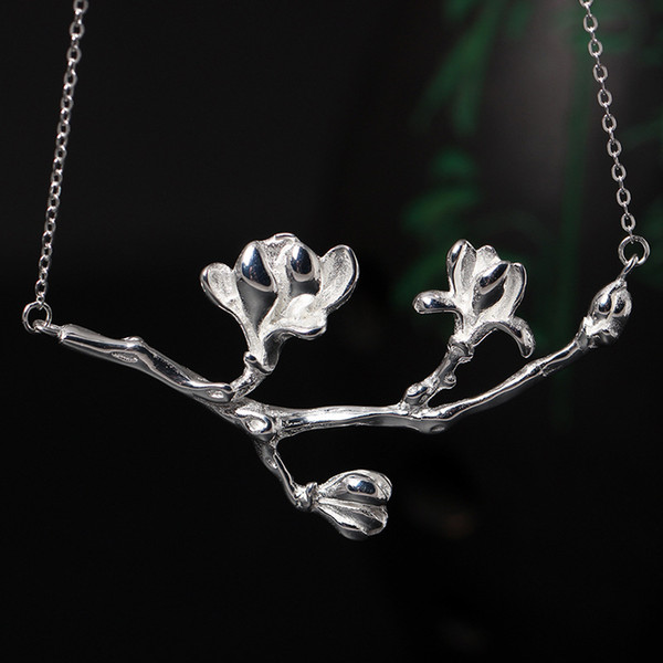 New national wind 925 pure silver temperament compound jade orchid Pendant Necklace Necklace Female Flower Necklace factory direct selling