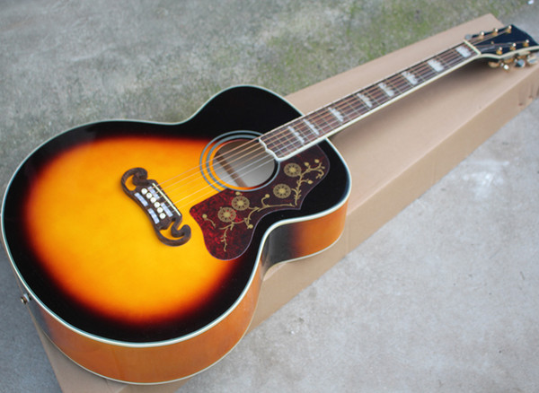 """Free Shipping 43 """" Tobacco Sunburst Top Solid Acoustic Guitar with Rosewood Fretboard,Golden Hardwares,Bone saddle and nut"""