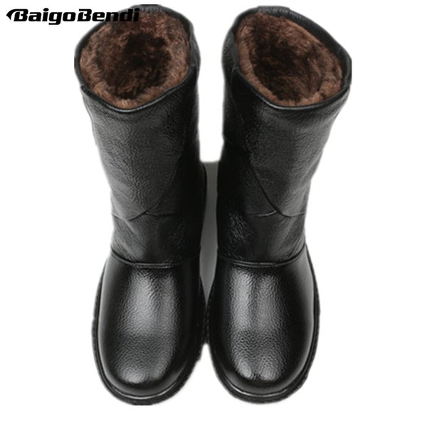 e4b6059670d Us5 10 Real Leather Pull On Waterproof Super Warm Mid Calf Snow Boots Mens  Winter Outdoor Plush Cotton Shoes Work Boots Knee High Boots From Bestname,  ...