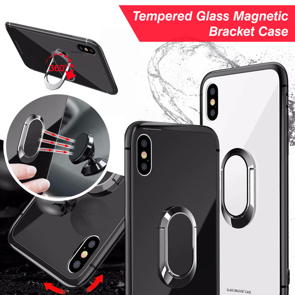 Hybrid Tempered Glass Shockproof Back Cover TPU Bumper Bracket Case Metal Ring Magnetic Car Mount Holder For iPhone X 8 7 6S Plus OPP Aicoo