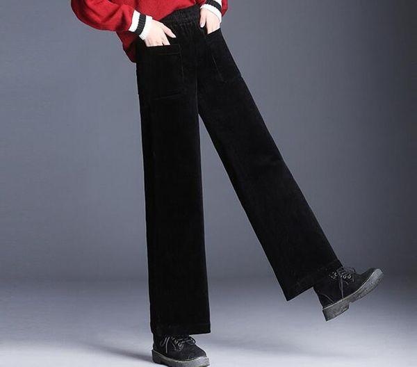 f9dcdaf57e530 Wide leg pants for women plus size ealstic waist black gray green casual  capris corduroy high