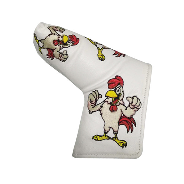 PU Leather Golf Blade Putter Covers Rooster Pattern White Golf Putter Headcover Accessories