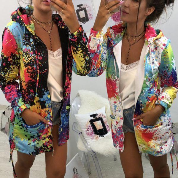 Kadın Hoodie Renkli Baskı Palto Fermuar Lace Up Uzun Kollu Ceket Tişörtü Jumper Kazak Kış Bluzlar Açık Gömlek Dış Giyim Tops