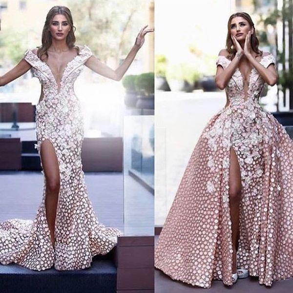 Charming Off Shoulder Prom Dress With Detachable Overskirt Floral Appliques Side Split Lace Mermaid Party Dress Fashion Dubai Evening Dress