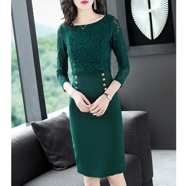 Fashion Stitching Crop Green Lace Dress Hip Sexy Midi Elegant OL Lady Office Work Casual Dresses Plus Size XXL Clothes EM3666