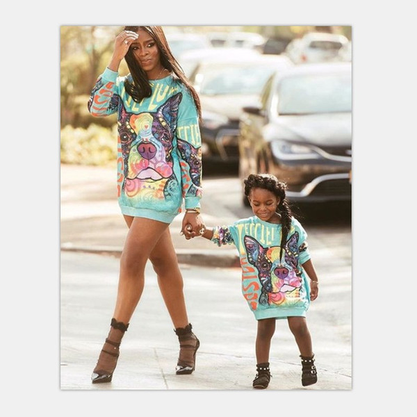 best selling Mother Daughter Sweater Dresses 2018 Family Matching Outfits Mommy And Me Cartoon Clothes Family Dog Look