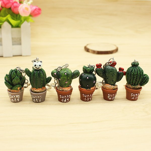 Cactus Potted Keychains Cute green Color Women Bag Key Chain Holder Plants Key Ring Bag Pendant T2C085