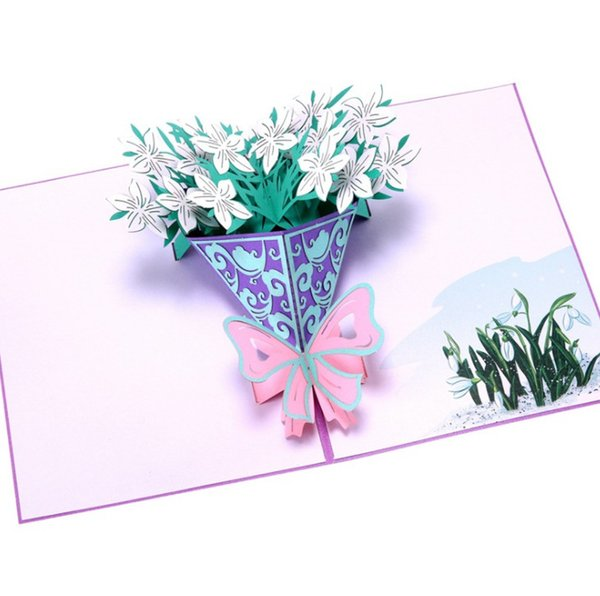 Flowers wedding Cards 3D laser Cut Paper Love Pop Up Card with Envelope Invitations Greeting gift Happy Invitation