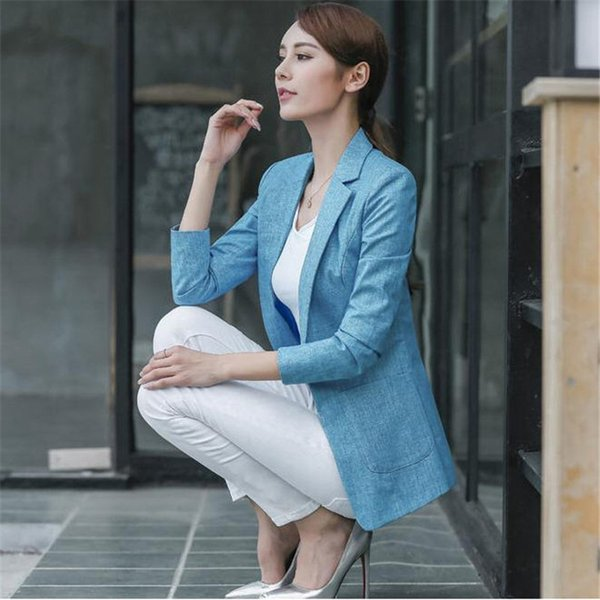 2019 Large Size Blazer Women Spring Casual Three Quarters Sleeve Linen Suit  Jacket Candy Color Ladies Blazers Jackets XXXL 4XL A1676 From Lorsoul,