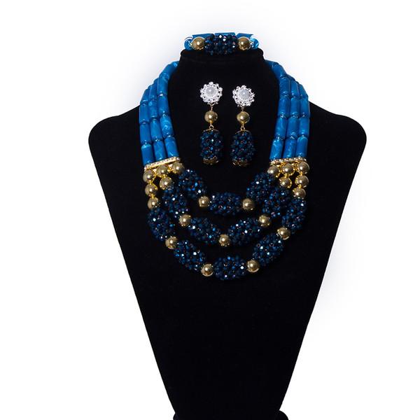 3 Filas Azul Marino Granos de Cristal Gargantilla Nupcial Conjuntos de Joyas de Moda Boda Africana Collar Llamativo Collar Pulsera Conjuntos de Pendientes para Mujeres