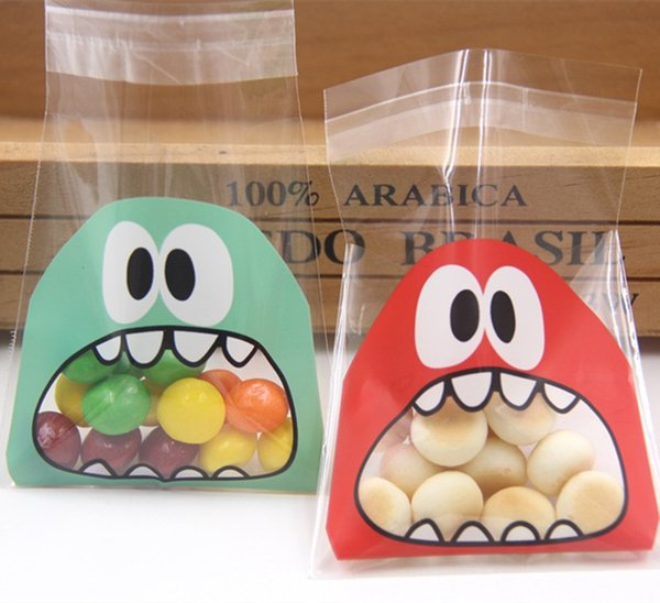 10X10CM 3Colors Cute Cartoon Monster Cookie&Candy Bag Self-Adhesive Plastic Bags For Biscuits Snack Baking Package Easter Day Supplies