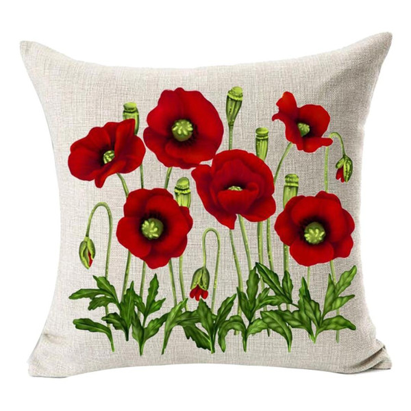 Enchanting Beautiful Oil Painting Red Poppy Flowers Gift Anniversary Day Present Cotton Linen Home Decorative Throw Pillow Case