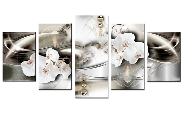 5 Pièces Peintures Blanc Orchidée Fleur Mur Art Image Lignes Abstraites Fond Impression Sur Toile Œuvres pour La Décoration Intérieure Cadeaux