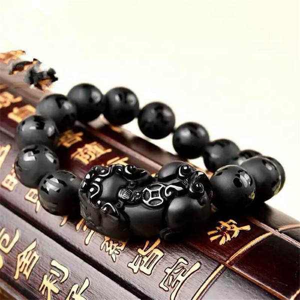 12mm 14mm 16mm Crystal Round Bead Natural Stone Bracciali Donna Uomo Potente Fitness Black Gemstone Natural Obsidian Bracelet