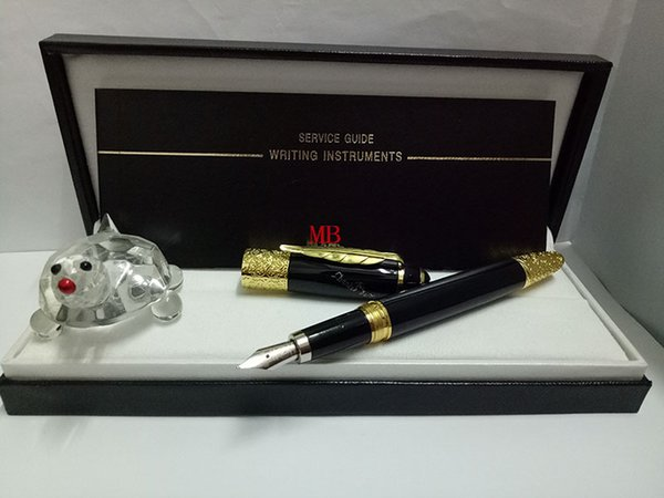 Luxury Resin Material Platinum Founatain Pen black body with gold maple leaf Clip best gift office school supplies