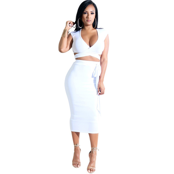 b71112621ed Fashion two pieces women's sets clothing sexy crop tops and pencil skirt v  neck crisscross strap