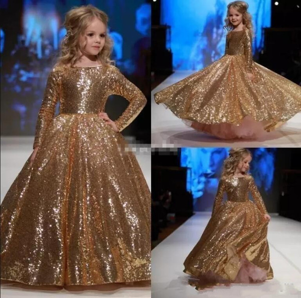 Cheap Cute Gold Girls Pageant Dresses Jewel Neck Ball Gown Sequins Tulle Long Sleeves Pageant Dresses for Kids Girls Custom Birthday Gowns