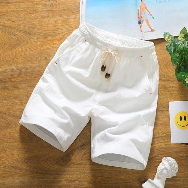 여름 남성 리넨 블렌드 반바지 남성용 얇은 캐주얼 대형 사이즈 심플 무릎 길이 바지 아시아 사이즈 M - 5XL