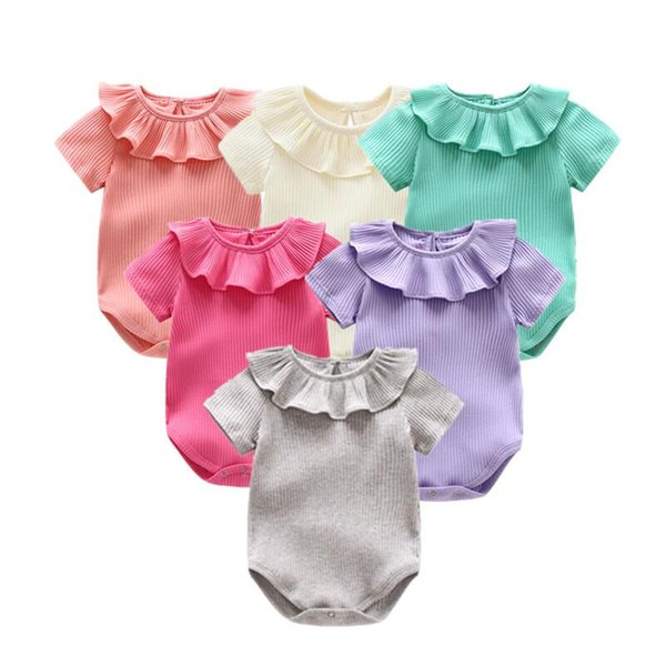 Newborn Baby Clothes Summer Baby Go Out Climbing Body Girl Knitted Rompers Short Sleeved Jumpsuit Outfits Clothes
