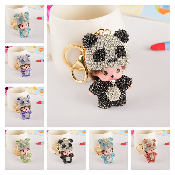 Cute Bear Crystal Keychain Key Ring Holder 5 Styles Fashion Panda Doll Bag Car Key Chain Charms Cool Keyrings Best Gifts For Her
