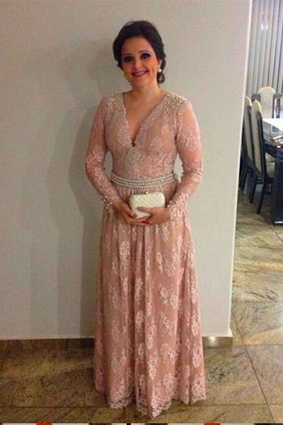 Plus Size Long Sleeves Mother of the Bride Dresses V neck Floor Length Lace with Beads A line Formal Party Prom Evening Dresses