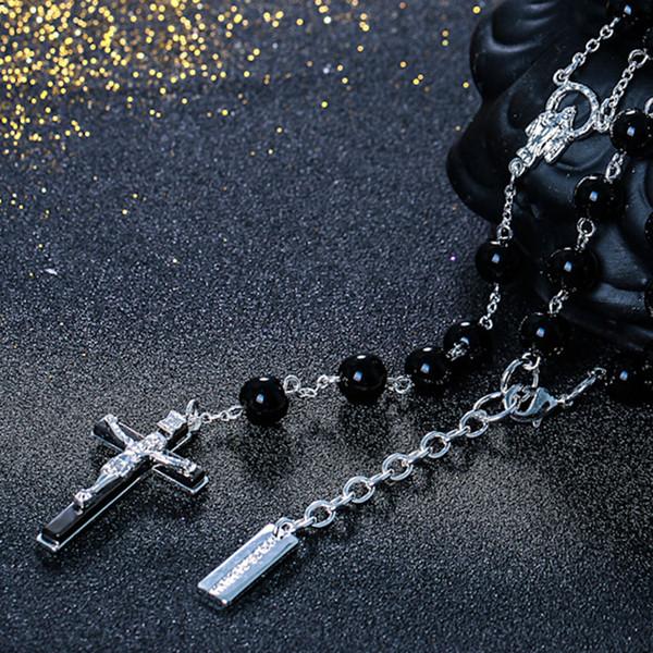 женские мужские ожерелье черный шарик Иисус крест цепи ожерелья женщины мужчины хип-хоп хип-хоп ювелирные изделия Рождественский подарок