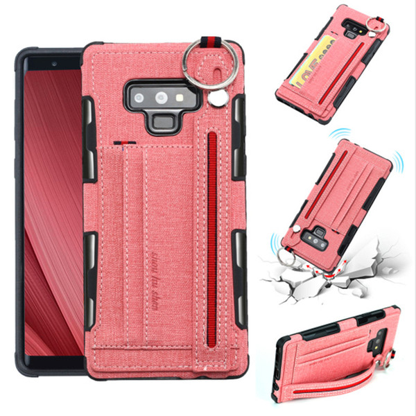 Canvas Wallet Cover With Card Slots Shockproof Case With Hanging Ring For iPhone XR XS Max Samsung Note 9 J7 J3 2018 Moto G6 Play Opp Bag