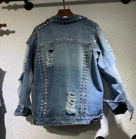 European Style Gloria Jeans Jacket Coat 2019 Spring / Summer New Heavy Beaded Diamond Personality Hole Denim Jackets Woman