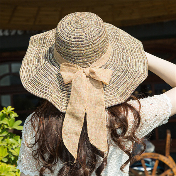 8b7237647bd Summer Sun Cap for Women Outdoor Casual Beach Hat Lace Women s Ladies  Foldable  Wide Large