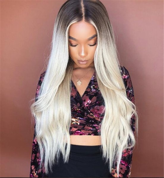 Dark Roots Human Hair Ombre Blond 613 Lace Front Wig 24inch Silky Straight Brazilian Remy Hair #613 Full Lace Wig
