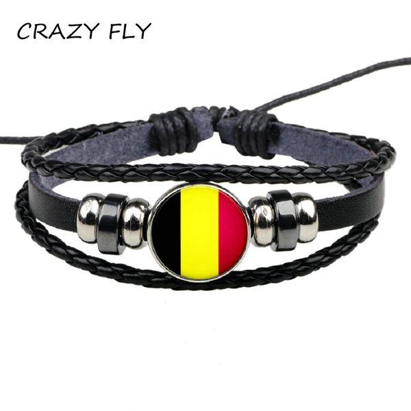 CRAZY FLY Fashion Leather Bracelet Snap Punk Belgium Handmade Flags Glass Cabochon Charm Bracelets Women Men Jewelry Wholesale