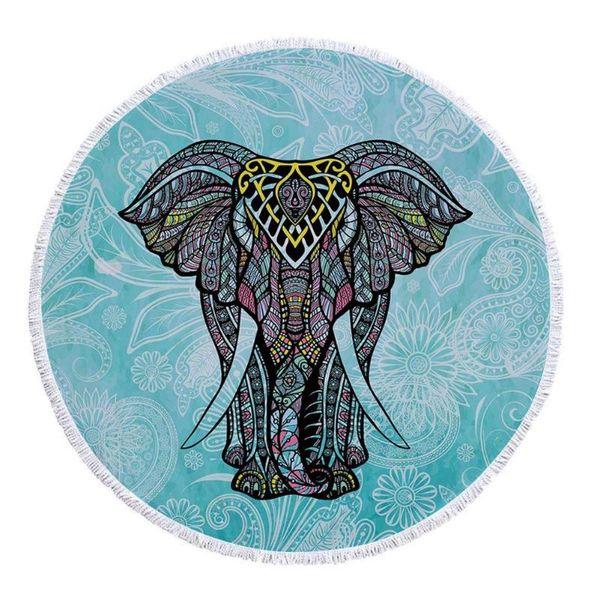 Elephant Printed Bohemian Round Hanging Tapestry Beach Towel Yoga Mat Table Cloth Pad Cushion Bedspread Blanket