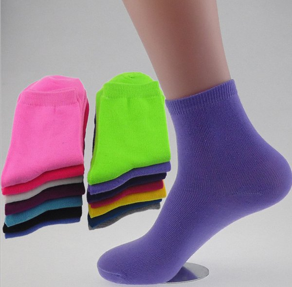 Womens Cotton Socks Solid Style Casual Cute Candy 10pairs / Lot Color Mix Venta caliente en otoño invierno