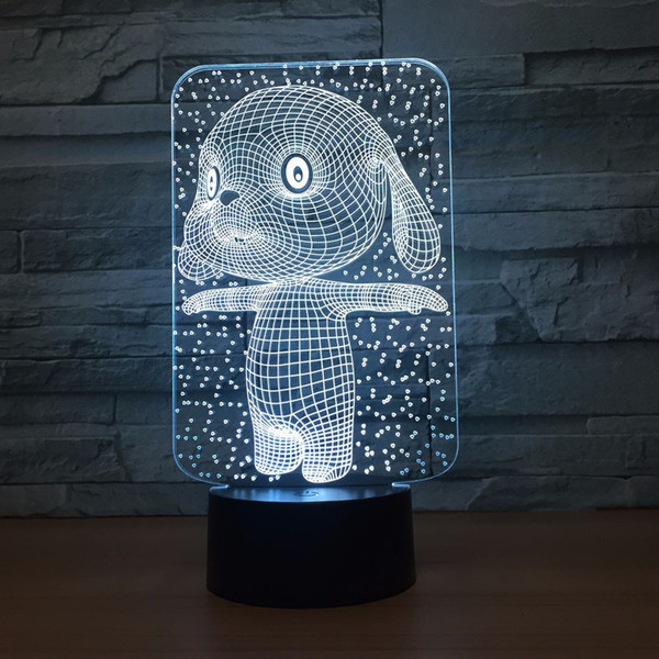 Modern 7 Colors Changing Cartoon Dog Modelling LED 3D light Table Lamp Home Decor Night Lights Bedside Lamp Drop shipping Free Shipping