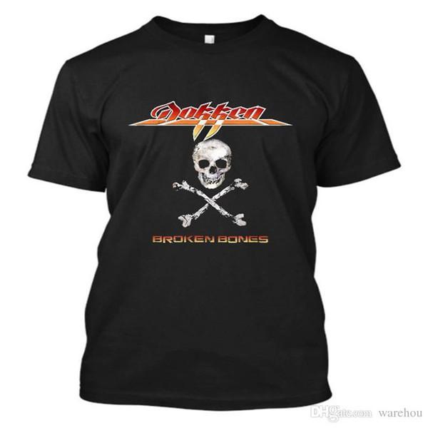 Moda Rock American Banda de Metal Quebrado Ossos impresso camiseta homens tops camisa casual