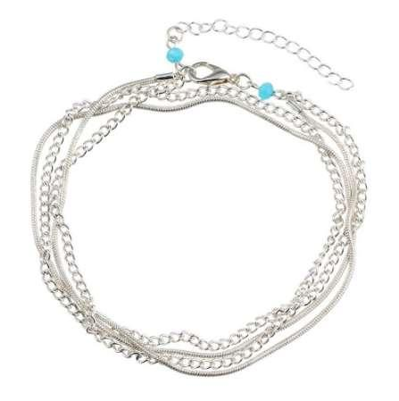 AOMU Minimalism Multilayer Silver Anklets Women Ankle Bracelets Female Halhal Foot Chain Blue Beads Charm Beach Sandal Barefoot
