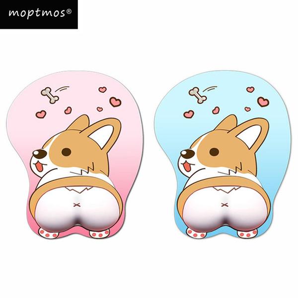 Anime 3D Mouse Pad Ergonomik Yumuşak Silikon Jel Oyun Mousepad Bilek Desteği ile Sevimli Corgi Köpek Fare Mat Kızlar Için