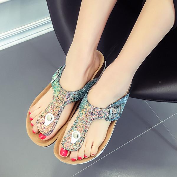Mode d'été tongs paillettes pantoufles pantoufles de liège antidérapantes sandales de plage fille en cuir PU Casual Cool Sandalias NNA192