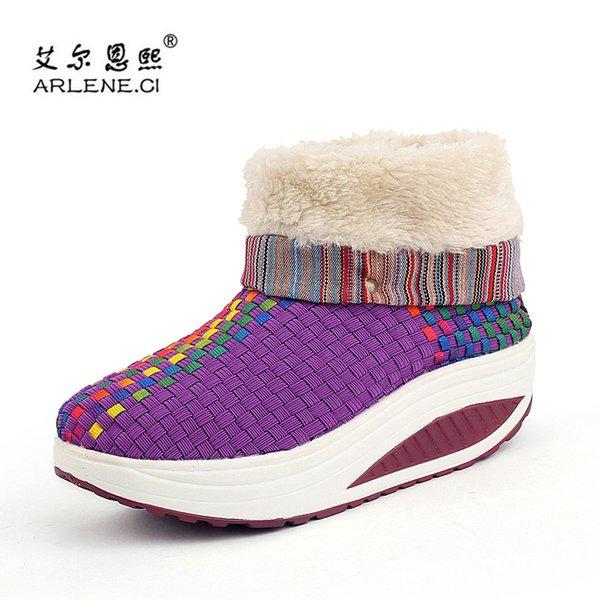 2018 New Style Sneakers D'hiver Pour Femmes Chaussures De Sport Thermiques Femme Soutien Léger Chaussures De Marche Confort Purple Sneakers
