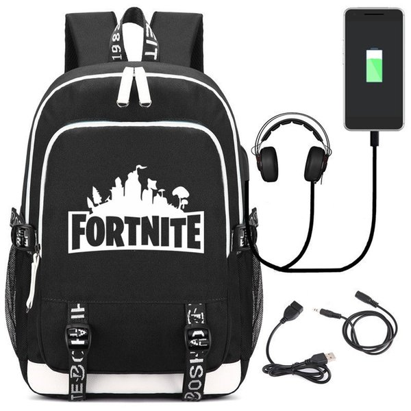 Fortnite Backpack Schoolbag with USB Charging Port and Headphone Loptop School Bags for Teenage Girls and Boys School Backpack