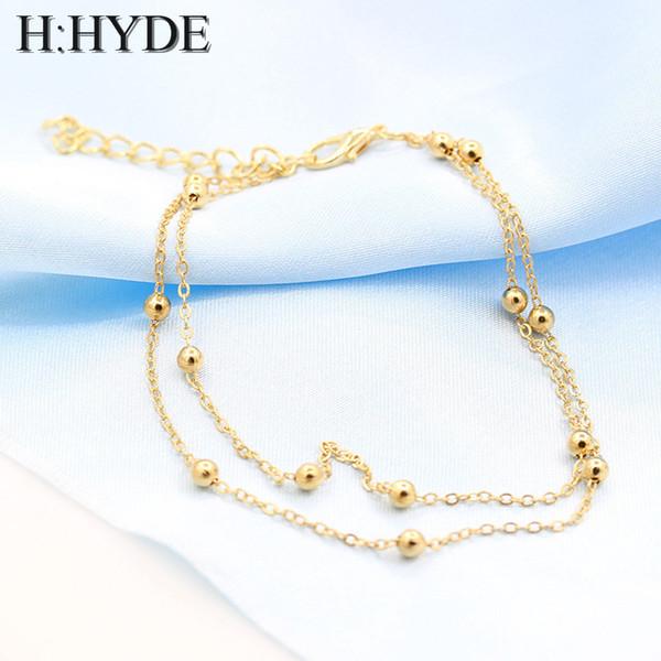 H: HYDE Altın Gümüş Chic Muhtasar Çift Katmanlı Gelin Düğün Halhal Zincir Charm Boncuk Bacak Bilezik Halhal Ayak Takı Kadınlar Için